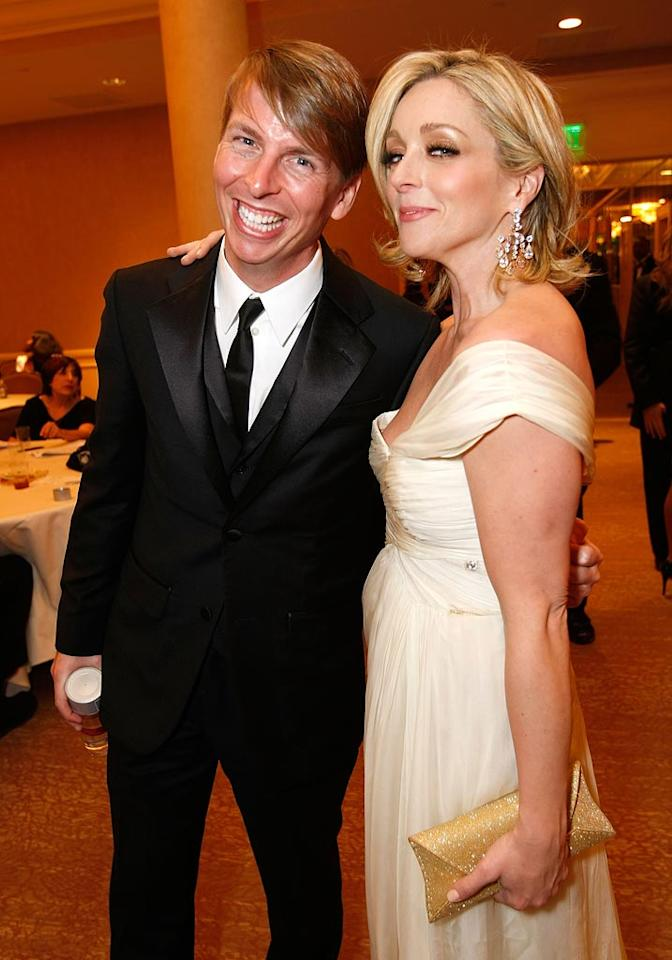 """30 Rock"" costars Jack McBrayer and Jane Krakowski cheesed for the camera. Michael Buckner/<a href=""http://www.gettyimages.com/"" target=""new"">GettyImages.com</a> - January 11, 2009"