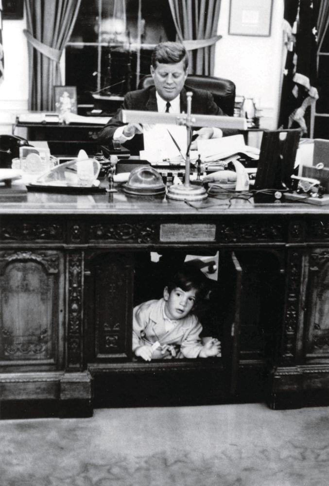President John F. Kennedy and John F. Kennedy Jr. in the Oval Office | Courtesy JFK Library