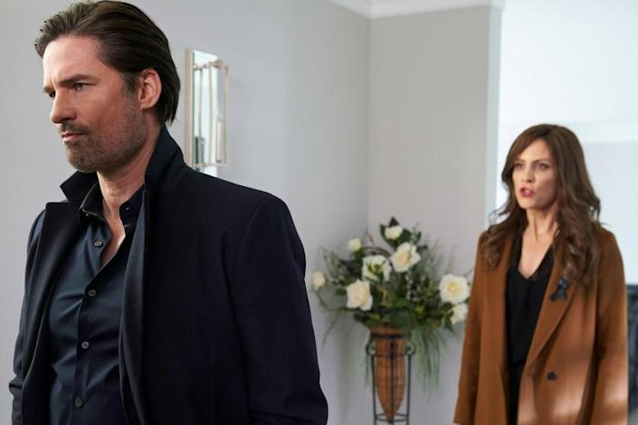 """Warren Christie and Annabeth Gish in """"Gone Mom: The Disappearance of Jennifer Dulos"""" on Lifetime."""