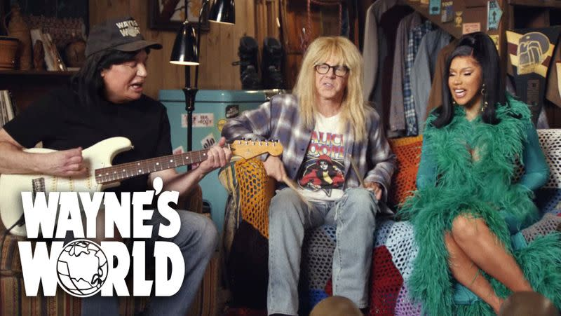 "Rapper Cardi B appears with Mike Myers and Dana Carvey as their ""Wayne's World"" characters"