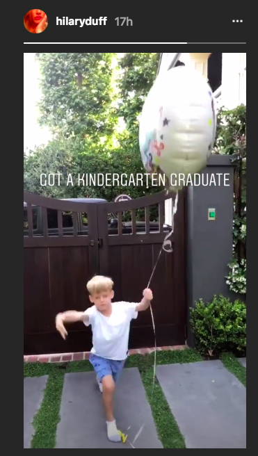 Hilary Duff shared this photo of her kindergarten graduate Luca Comrie, 6, on Thursday. (Photo: Hilary Duff via Instagram)