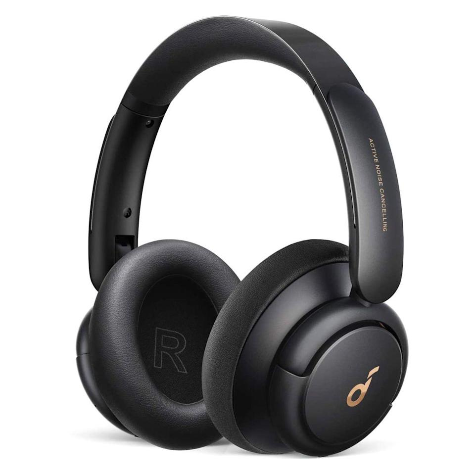 """<p><strong>Soundcore</strong></p><p>amazon.com</p><p><strong>$79.99</strong></p><p><a href=""""https://www.amazon.com/dp/B08HMWZBXC?tag=syn-yahoo-20&ascsubtag=%5Bartid%7C2089.g.285%5Bsrc%7Cyahoo-us"""" rel=""""nofollow noopener"""" target=""""_blank"""" data-ylk=""""slk:Shop Now"""" class=""""link rapid-noclick-resp"""">Shop Now</a></p><p>The Soundcore Life Q30 wireless headphones by Anker are hands down the best headphones under $100. The over-ear cans have an elegant design, high-quality sound and noise cancellation with elaborate app controls, and up to a whopping 60 hours of battery life. Overall, they make a serious case for not overspending on wireless headphones. </p><p>Other key features of the Life Q30 include a comfy fit with convenient button controls, a fast and futureproof USB-C charging port, and the ability to simultaneously connect to a duo of devices. Pick from three color options: black, blue, and pink.</p><p><strong>More: </strong><a href=""""https://www.bestproducts.com/tech/gadgets/a35672431/soundcore-life-q30-headphones-review/"""" rel=""""nofollow noopener"""" target=""""_blank"""" data-ylk=""""slk:Our Review of the Soundcore Life Q30"""" class=""""link rapid-noclick-resp"""">Our Review of the Soundcore Life Q30</a></p>"""
