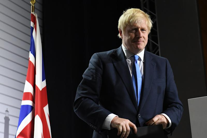 Prime Minister Boris Johnson during a press conference at the conclusion of the G7 summit in Biarritz, France.
