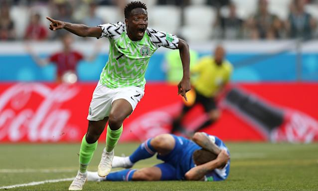 Ahmed Musa celebrates scoring his first goal for Nigeria against Iceland in their World Cup Group D match at the Volgograd Arena.