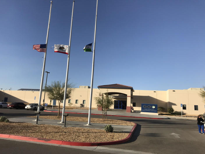 The Adelanto detention facility and its flags. (Photo: Ken Silverstein for Yahoo News)
