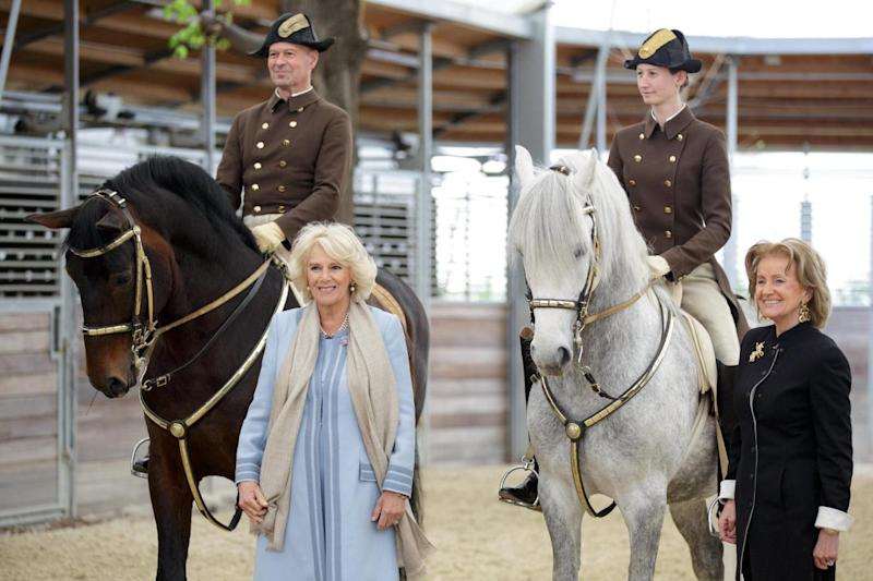 The Duchess of Cornwall (left) and Elisabeth Guertler, Director of the Spanish Riding School (EPA)