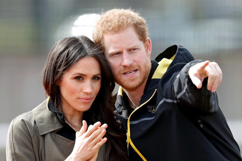 BATH, UNITED KINGDOM - APRIL 06: (EMBARGOED FOR PUBLICATION IN UK NEWSPAPERS UNTIL 24 HOURS AFTER CREATE DATE AND TIME) Meghan Markle and Prince Harry attend the UK Team Trials for the Invictus Games Sydney 2018 at the University of Bath on April 6, 2018 in Bath, England. (Photo by Max Mumby/Indigo/Getty Images)