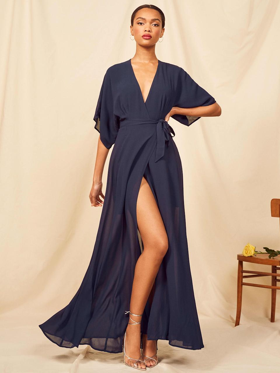 """<h3><strong>Reformation</strong></h3><br><strong>Price Range:</strong> $198 - $428<br><strong>Size Range:</strong> XS - XL<br><br>Reformation delivers gowns dripping with nonchalant romantic vibes. Be prepared to float down the aisle in lightweight, sheer georgette and dance the night away in comfort. The higher cost means you'll want to commit to wearing this one more than a few times over, which is something we can count on when it comes to a Reformation dress. Or, bringing it back to our earlier suggestion, check out <a href=""""https://www.renttherunway.com/pages/designers/reformation/products?sort=priceAsc#1553473618953"""" rel=""""nofollow noopener"""" target=""""_blank"""" data-ylk=""""slk:Rent the Runway"""" class=""""link rapid-noclick-resp"""">Rent the Runway</a> to borrow instead of buy your <a href=""""https://www.renttherunway.com/pages/designers/reformation/"""" rel=""""nofollow noopener"""" target=""""_blank"""" data-ylk=""""slk:Reformation"""" class=""""link rapid-noclick-resp"""">Reformation</a> dress at a fraction of the cost.<br><br><em>Shop </em><strong><a href=""""https://www.thereformation.com/categories/bridesmaids"""" rel=""""nofollow noopener"""" target=""""_blank"""" data-ylk=""""slk:Reformation"""" class=""""link rapid-noclick-resp""""><span><em>Reformation</em></span></a></strong><br><br><strong>Reformation</strong> Winslow Dress, $, available at <a href=""""https://go.skimresources.com/?id=30283X879131&url=https%3A%2F%2Fwww.thereformation.com%2Fproducts%2Fwinslow-dress%3F"""" rel=""""nofollow noopener"""" target=""""_blank"""" data-ylk=""""slk:Reformation"""" class=""""link rapid-noclick-resp"""">Reformation</a><br><br><strong>Reformation</strong> Winslow Dress (rent), $, available at <a href=""""https://go.skimresources.com/?id=30283X879131&url=https%3A%2F%2Fwww.renttherunway.com%2Fshop%2Fdesigners%2Freformation%2Fblush_winslow_maxi"""" rel=""""nofollow noopener"""" target=""""_blank"""" data-ylk=""""slk:Rent The Runway"""" class=""""link rapid-noclick-resp"""">Rent The Runway</a>"""