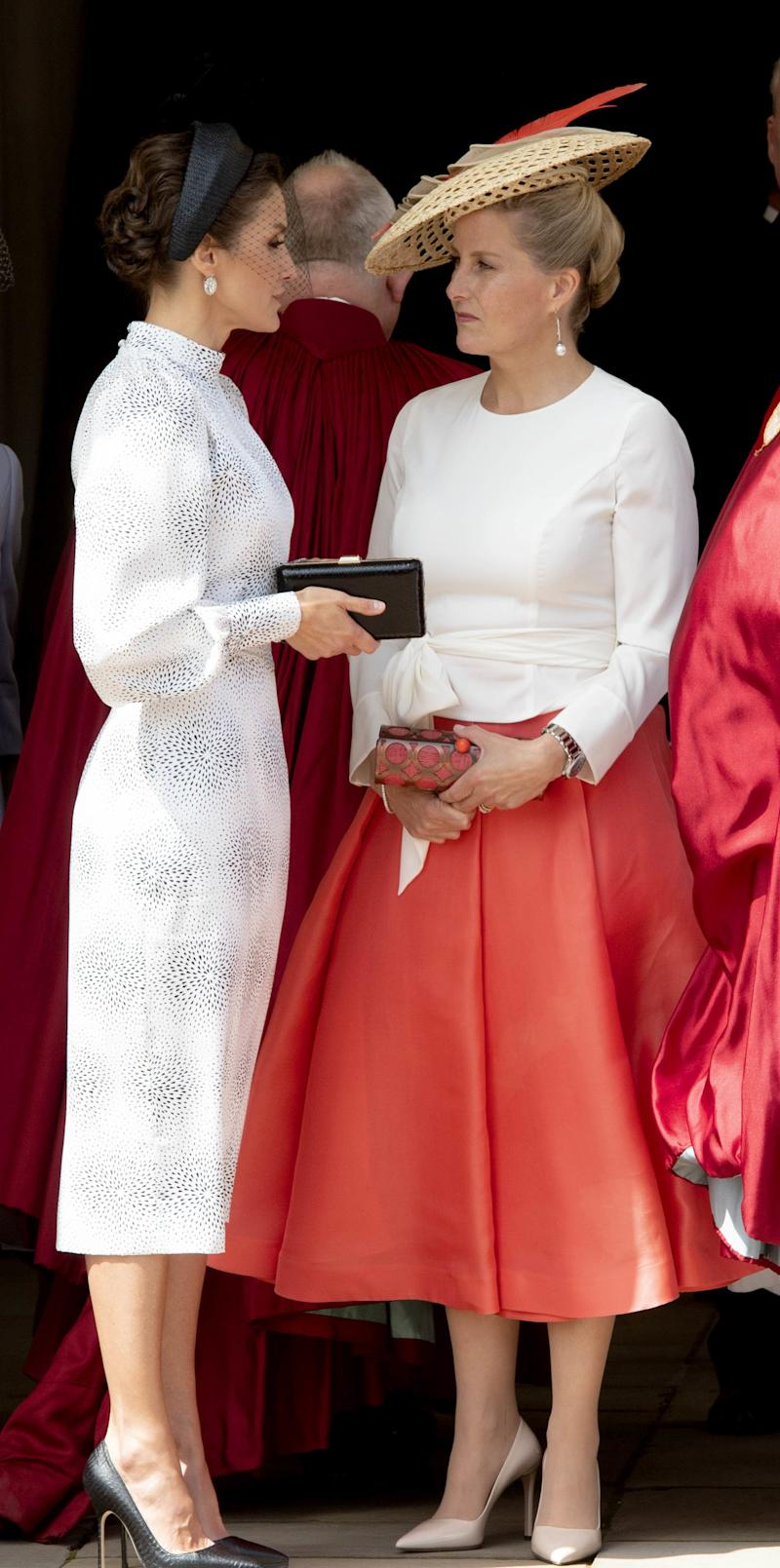 Britain's Sophie, Countess of Wessex (L), Spain's Queen Letizia attends the Most Noble Order of the Garter ( Orde van de Kouseband) ceremony at St George�s Chapel at Windsor Castle in Windsor, England on June 17, 2019. (Photo by PPE/Nieboer/Sipa USA)