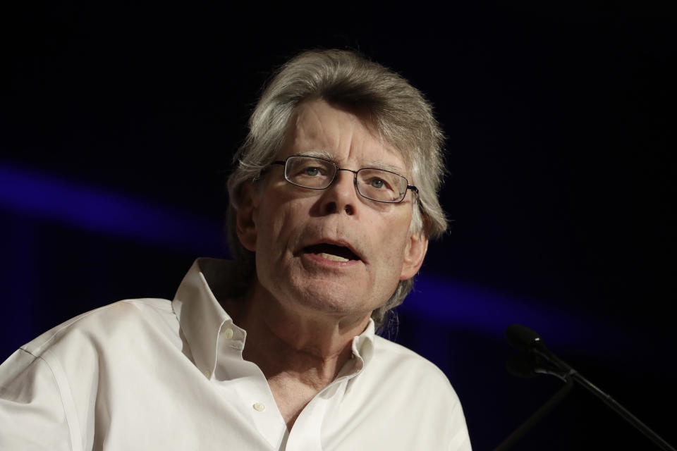 In this June 1, 2017, photo, author Stephen King speaks at Book Expo America in New York. (AP Photo/Mark Lennihan)
