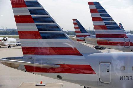FILE PHOTO: American Airlines aircraft are parked at Ronald Reagan Washington National Airport in Washington.