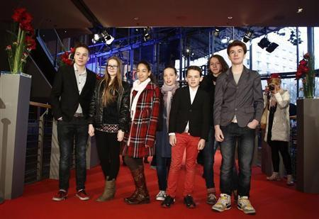 """Cast of the movie """"Kreuzweg"""" (Station of the Cross) pose before its premier at the 64th Berlinale International Film Festival in Berlin"""