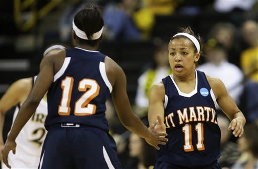 Tennessee Martin guard Heather Butler, right, reacts with teammate Jasmine Newsome, left, after making a three-point basket during the first half of a first-round game against Notre Dame in the women's NCAA college basketball tournament on Sunday, March 24, 2013, in Iowa City, Iowa. (AP Photo/Charlie Neibergall)