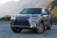 "<p>Is <a href=""https://www.caranddriver.com/lexus/lx"" rel=""nofollow noopener"" target=""_blank"" data-ylk=""slk:Lexus LX"" class=""link rapid-noclick-resp"">Lexus LX</a> really just a redecorated Toyota Land Cruiser with better upholstery? Well, yeah. But so what? The LX570 backs up its flash and plush with all the off-road prowess expected of a Cruiser. It has a full-time four-wheel-drive system that includes a two-speed transfer case and a limited-slip center differential. Also aboard are hill-start assist and terrain-management software. Naturally, Lexus uses a self-leveling air suspension with adaptive dampers and a 383-hp 5.7-liter V-8 mated to an eight-speed automatic transmission. With 8.9 inches of ground clearance and modest approach, break-over, and departure angles, the LX is best used at hauling horse trailers out of the mud rather than trail busting.<br></p>"