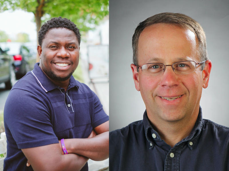 A photo of Eze Amos (left) by Eric Kelly and a photo of Robert Cohen (right) by Stephanie Cordle Frankel.