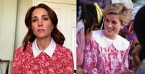 "Kate Middleton in <a href=""https://www.beulahlondon.com/products/calla-rose-red-floral-shirt-dress"" rel=""nofollow noopener"" target=""_blank"" data-ylk=""slk:Beulah London"" class=""link rapid-noclick-resp"">Beulah London</a> during a virtual appearance in May 2020; Princess Diana visiting Oman University in November 1986"