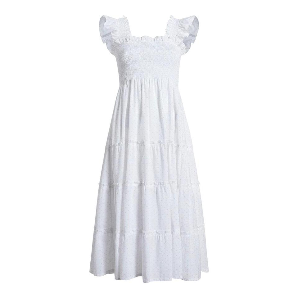 "$125, Hill House Home. <a href=""https://www.hillhousehome.com/products/the-ellie-nap-dress-white-swiss-dot?variant=32877972193323"" rel=""nofollow noopener"" target=""_blank"" data-ylk=""slk:Get it now!"" class=""link rapid-noclick-resp"">Get it now!</a>"