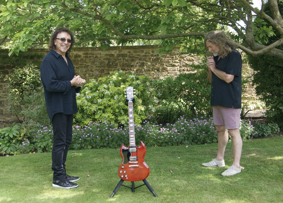 A guitar signed by Black Sabbath's Tony Iommi and Led Zeppelin's Robert Plant is also for sale (Julien's Auctions/PA)