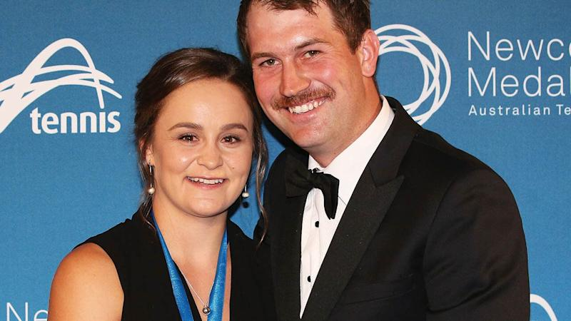 Ashleigh Barty and boyfriend Garry Kissick at the 2017 Newcombe Medal. (Photo by Michael Dodge/Getty Images)