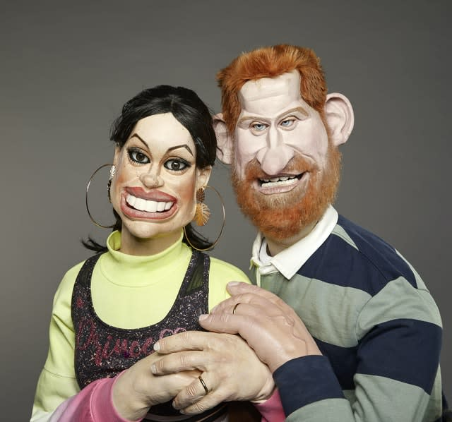 The Duke and Duchess of Sussex in puppet form