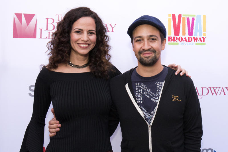 """""""I feel like my voice is synced with Lin after doing so many projects together,"""" Mandy Gonzalez said of """"Hamilton"""" creator Lin-Manuel Miranda. (Santiago Felipe via Getty Images)"""