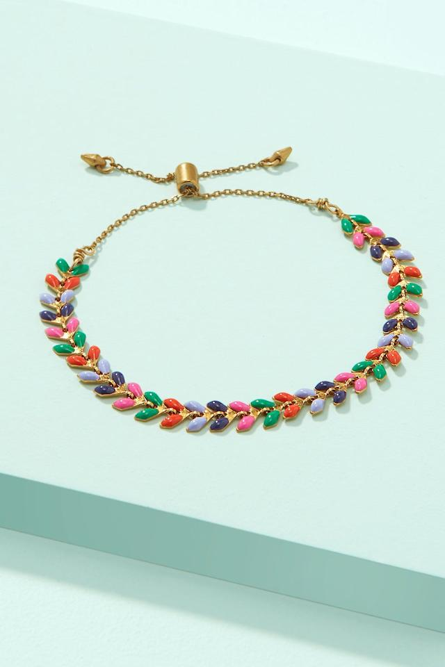 "<p><strong>Stella & Dot</strong></p><p>stelladot.com</p><p><strong>$29.00</strong></p><p><a href=""https://www.stelladot.com/p/sarees-pulley-bracelet-multi"" target=""_blank"">SHOP NOW</a></p><p>This multi-colored bracelet adds a pop of color to a stack of metallic bangles. </p>"