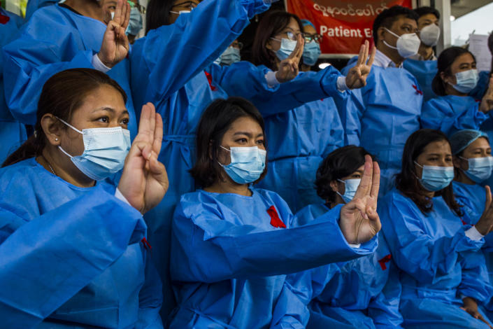 Doctors at a hospital in Yangon, Myanmar, protesting on Feb. 3, 2021, days after the military coup. (The New York Times)