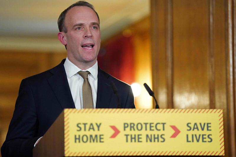 Foreign Secretary Dominic Raab addresses the nation on Monday afternoon (10 Downing Street/AFP via Getty)