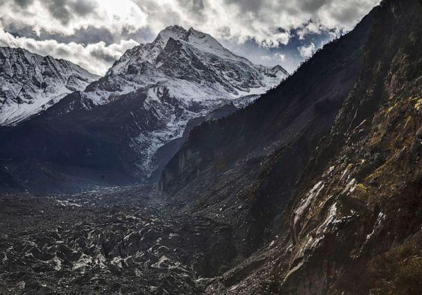 PHOTO: Ice and debris is seen in the tongue of Glacier 1, at the base of Mount Gongga, known in Tibetan as Minya Konka, on Nov. 13, 2015, in Hailuogou, Garze Tibetan Autonomous Prefecture, Sichuan province, China. (Kevin Frayer/Getty Images, FILE)