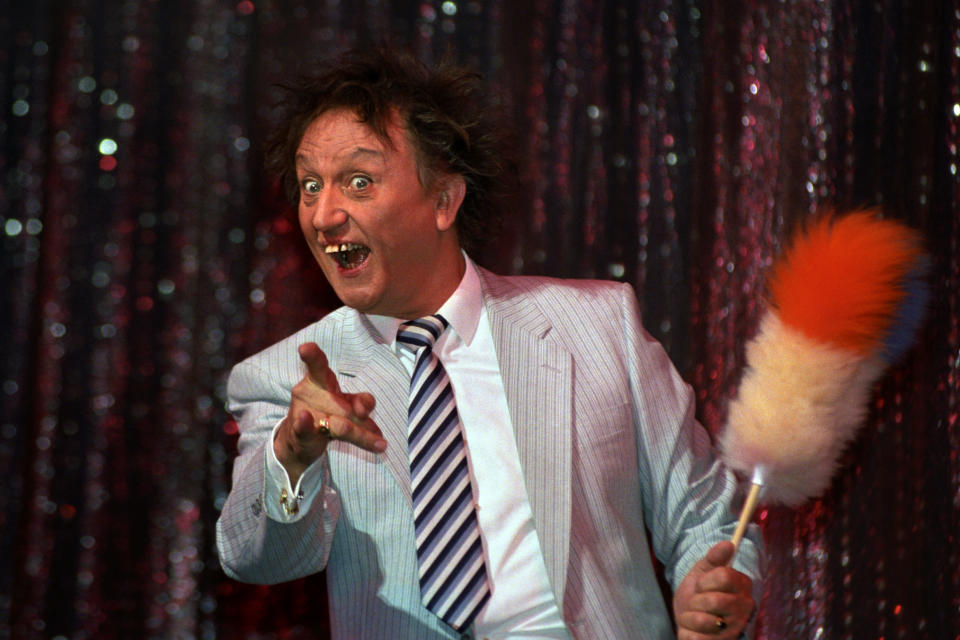 Comedian Ken Dodd during rehearsals at the London Palladium. (PA)
