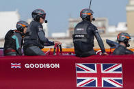 In this photo provided by Sail GP, the Great Britain SailGP Team, helmed by interim skipper Paul Goodison, practices in Taranto, Italy, June 1, 2021. The SailGP global road show touches down in Old Blighty this weekend, giving Goodison the opportunity to sail in front of home crowds for the first time since the 2012 London Olympics. The regatta on Plymouth Sound will also give Australia's Tom Slingsby the chance to bounce back from a last-place performance in the previous regatta, an unthinkable finish for the crack team that claimed the $1 million, winner-take-all prize during the inaugural season of 2019. (Bob Martin/SailGP via AP)