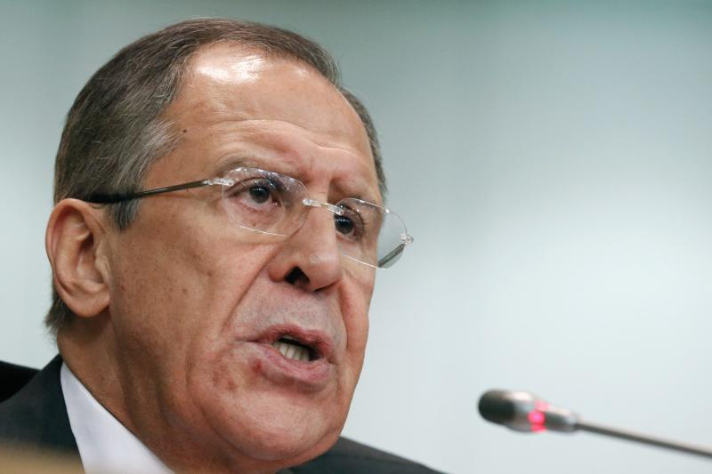 Russia's Foreign Minister Lavrov speaks during a news conference in Moscow