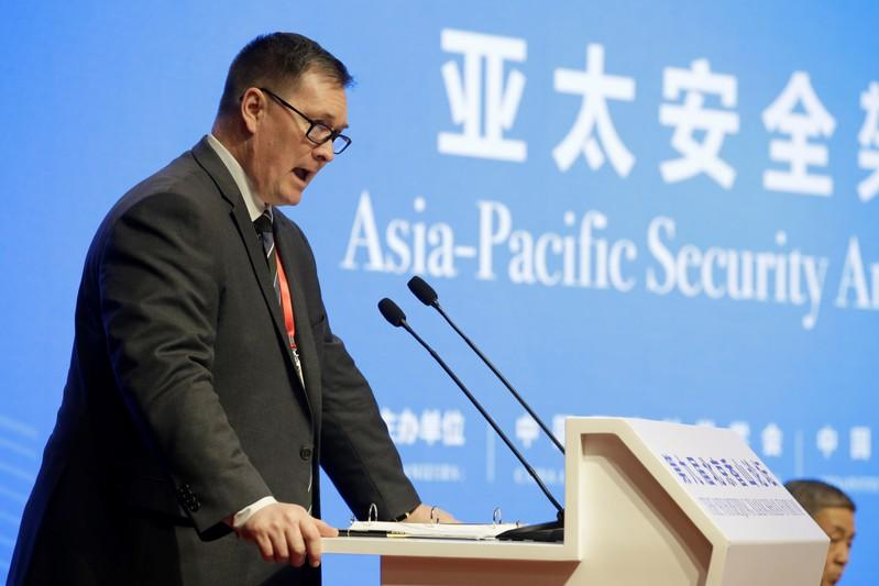 U.S. Deputy Assistant Defense Secretary for China Chad Sbragia speaks at the Xiangshan Forum in Beijing