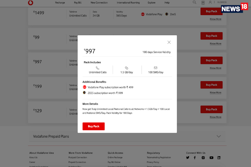 Vodafone Idea has a new Rs 997 Prepaid Recharge With Long Term Validity