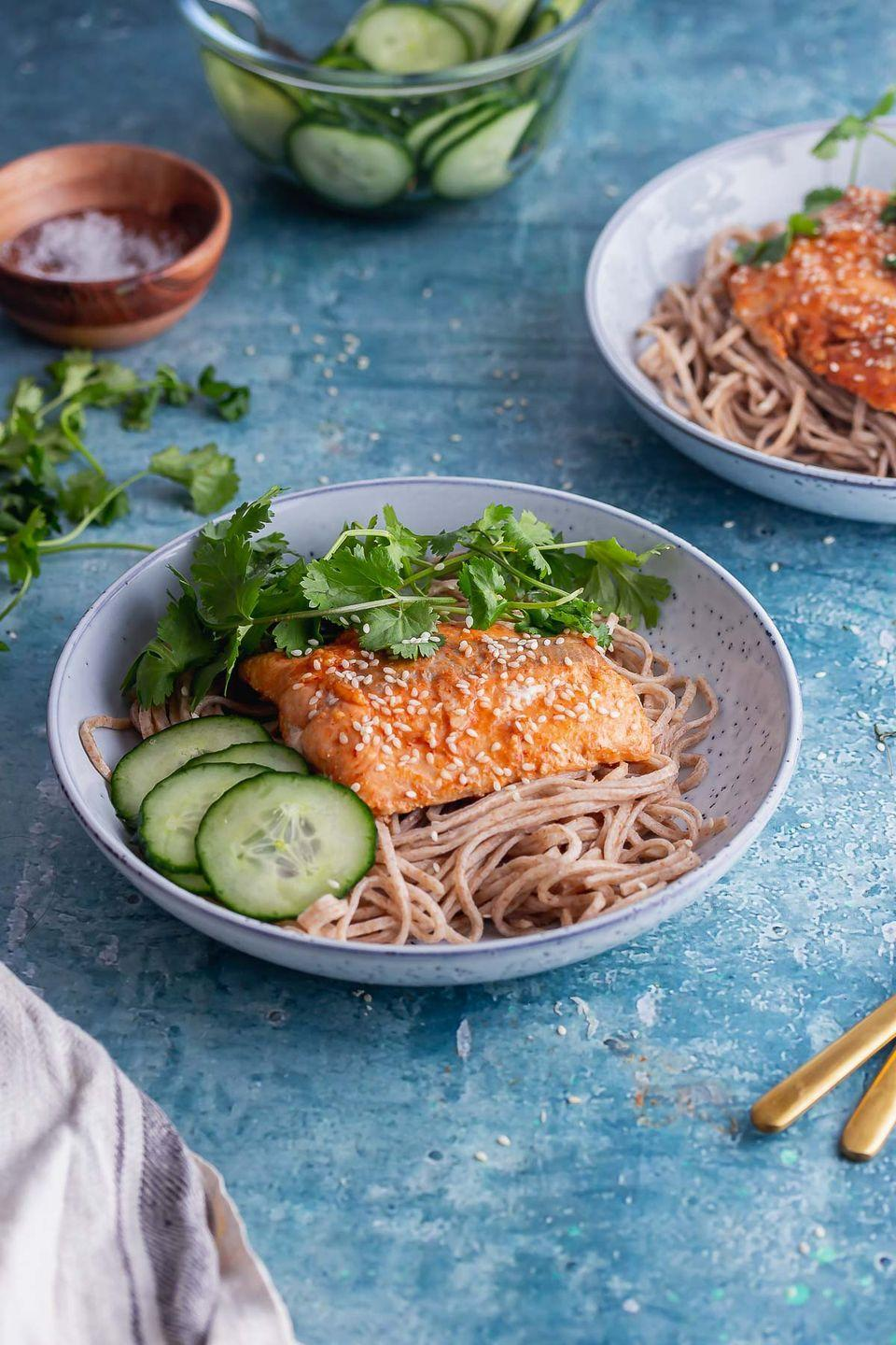 """<p>The side of pickled cucumbers with the honey soy salmon just makes this the best healthy and easy dinner. </p><p>Get the <a href=""""https://thecookreport.co.uk/honey-soy-salmon/"""" rel=""""nofollow noopener"""" target=""""_blank"""" data-ylk=""""slk:Honey Soy Salmon with Noodles & Pickled Cucumber"""" class=""""link rapid-noclick-resp"""">Honey Soy Salmon with Noodles & Pickled Cucumber </a>recipe. </p><p>Recipe from <a href=""""https://thecookreport.co.uk/"""" rel=""""nofollow noopener"""" target=""""_blank"""" data-ylk=""""slk:The Cook Report"""" class=""""link rapid-noclick-resp"""">The Cook Report</a>.</p>"""