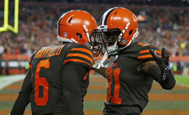 Cleveland Browns quarterback Baker Mayfield (6) and wide receiver Rashard Higgins (81) celebrate a 2-point conversion during the second half of an NFL football game against the New York Jets, Thursday, Sept. 20, 2018, in Cleveland. (AP Photo/Ron Schwane)