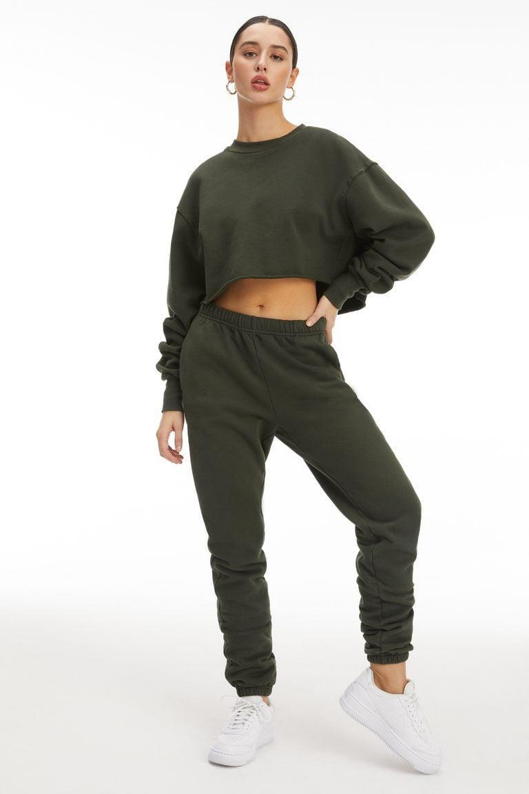 <p>If you want to feel comfortable and cute, go with these <span>Good American Boyfriend Sweatpants</span> ($75) and <span>Cropped &amp; Cool Sweatshirt</span> ($75).</p>