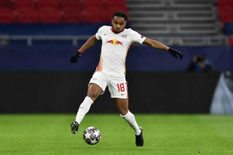 Christopher Nkunku in action for Leipzig during their 2-0 loss against Liverpool in Budapest
