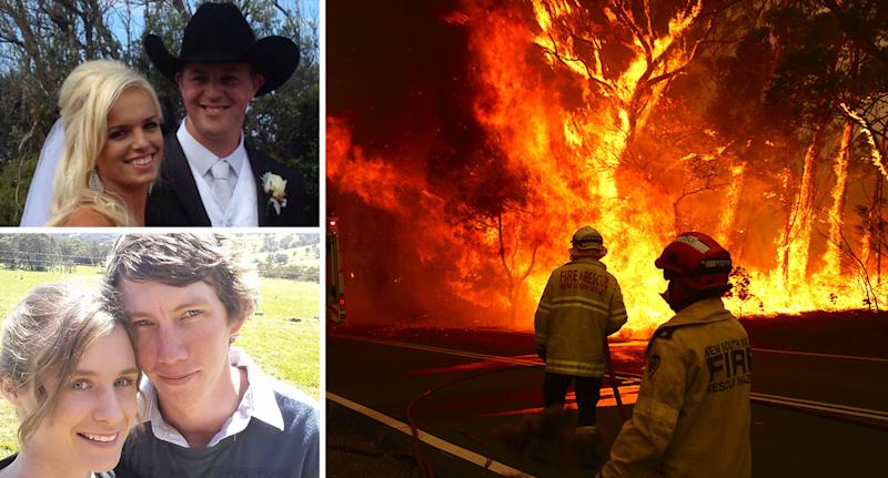 The fires in Australia have accounted for numerous deaths already; Patrick and Renee Salway (top left) and Samuel McPaul with his wife, Megan, who is pregnant with their first child. (Facebook, Getty)