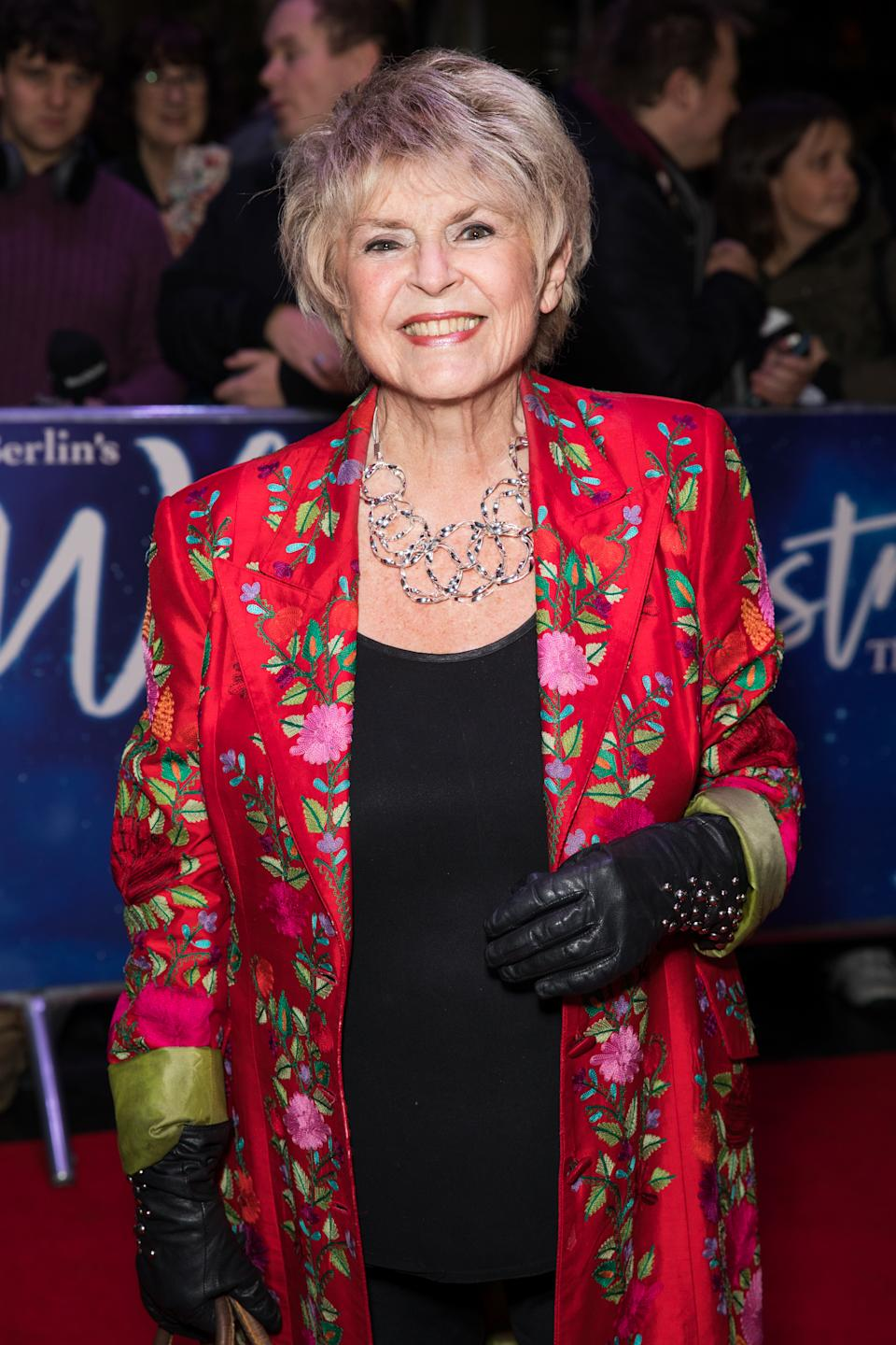 LONDON, UNITED KINGDOM, NOVEMBER 25, 2019: Gloria Hunniford attends the White Christmas Musical press night at the Dominion Theatre. (Photo by Phil Lewis / SOPA Images/Sipa USA)