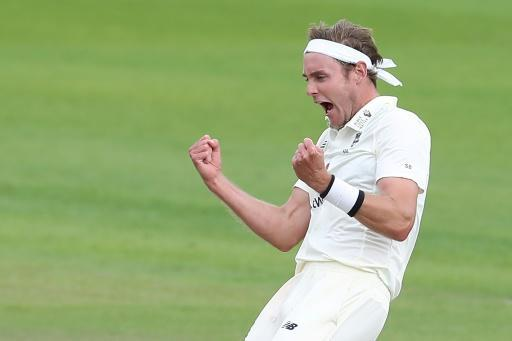 England's Stuart Broad took six West Indies wickets in their first innings of the third Test at Old Trafford