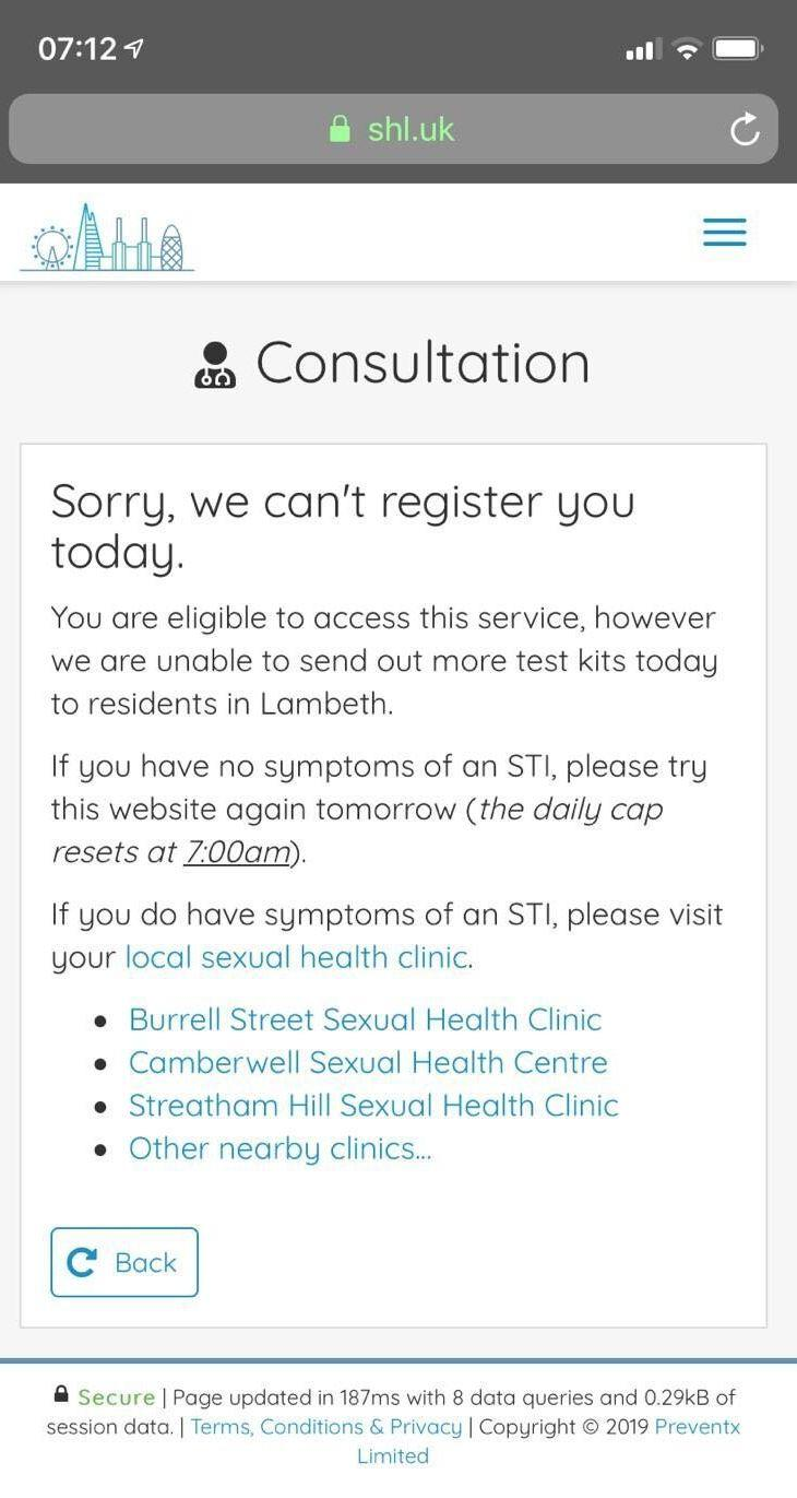 A screenshot supplied by James, showing tests had run out by 7.12am. (Photo: HuffPost UK)