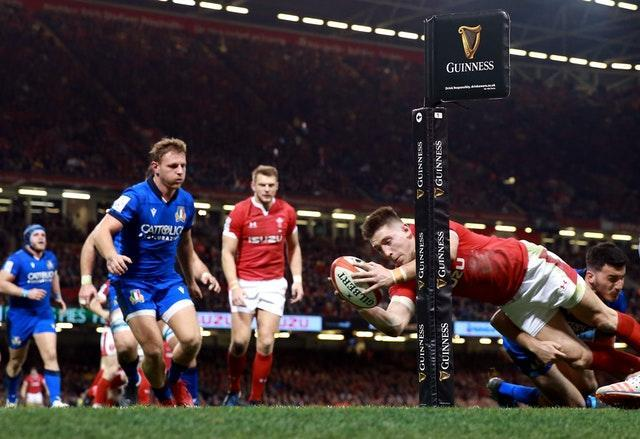 Josh Adams scored a hat-trick as Wales hammered the Italians 42-0