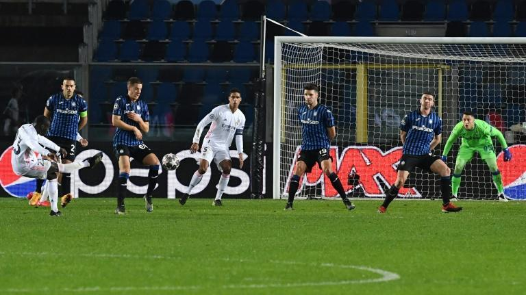 Real Madrid's French defender Ferland Mendy (L) scored the only goal against Atalanta in Bergamo.