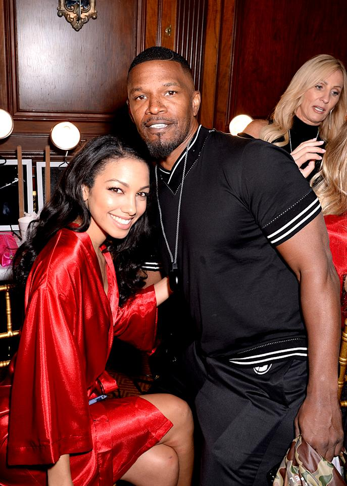 """<p>There's a new Foxx in town! Jamie's model daughter, <a rel=""""nofollow"""" href=""""https://www.yahoo.com/celebrity/jamie-foxx-39-s-daughter-corinne-1302386541944886.html"""">former Miss Golden Globe</a> Corinne, worked it on the runway at the Sherri Hill fashion show in NYC, and, of course, her dad was there to wish her luck. (Photo: Andrew Toth/Getty Images for Sherri Hill) </p>"""