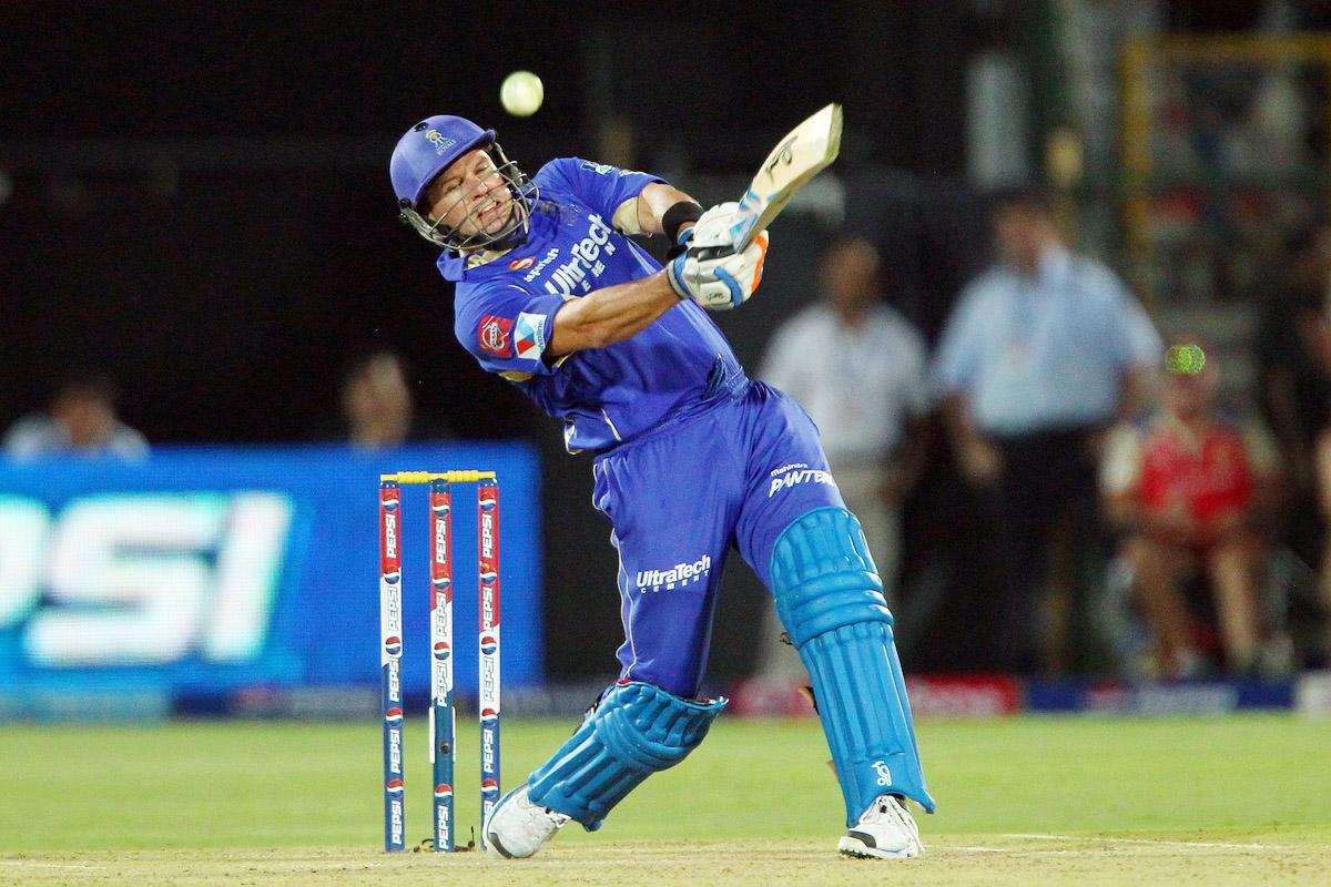 Brad Hodge knocks a six in the 17th over  during match 40 of the Pepsi Indian Premier League ( IPL) 2013  between The Rajasthan Royals and the Royal Challengers Bangalore held at the Sawai Mansingh Stadium in Jaipur on the 29th April 2013. (BCCI)