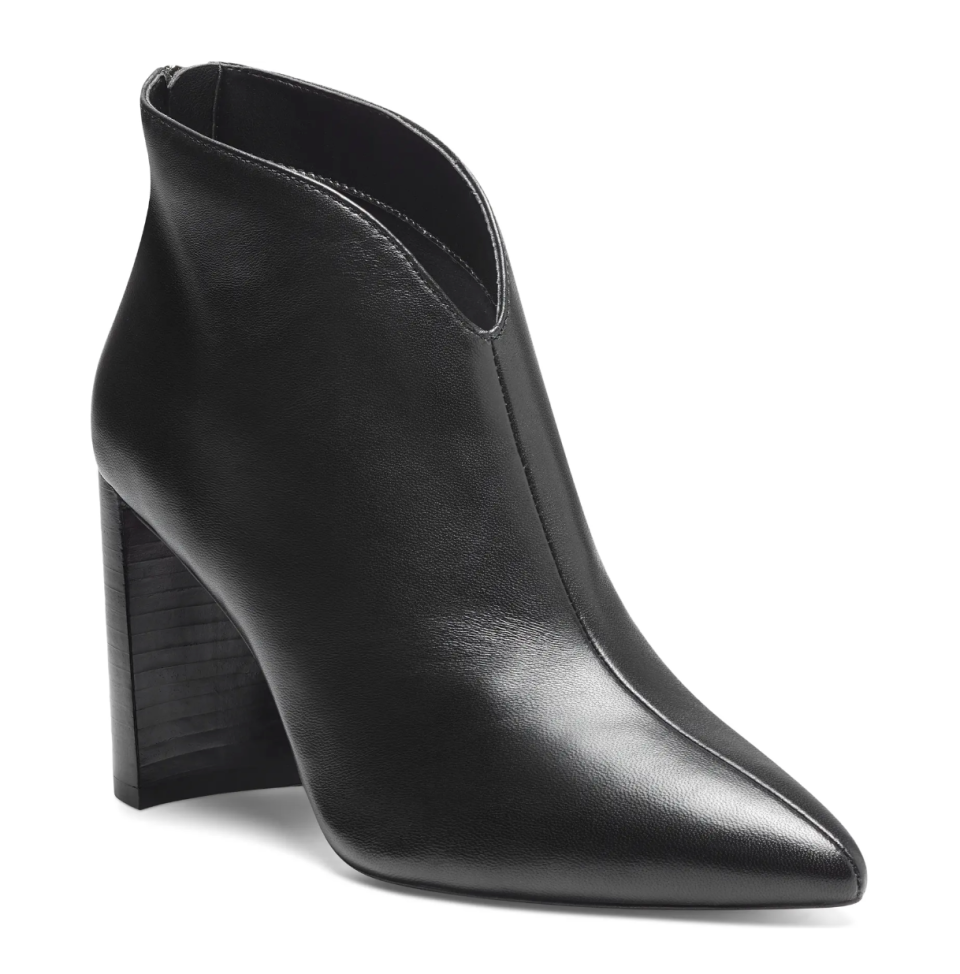 Sole Society Salima Pointed Toe Bootie in Black Leather (Photo via Nordstrom)