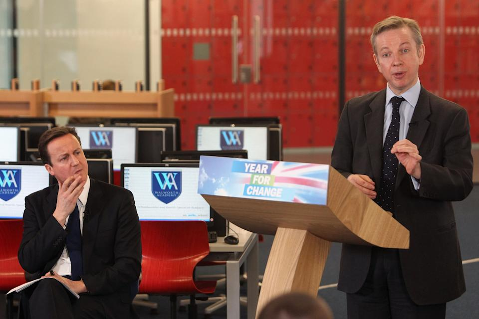 Gove, then Shadow Secretary of State for Children, Schools and Families, gives a speech in front of Conservative leader David Cameron in January 2010. (Getty)