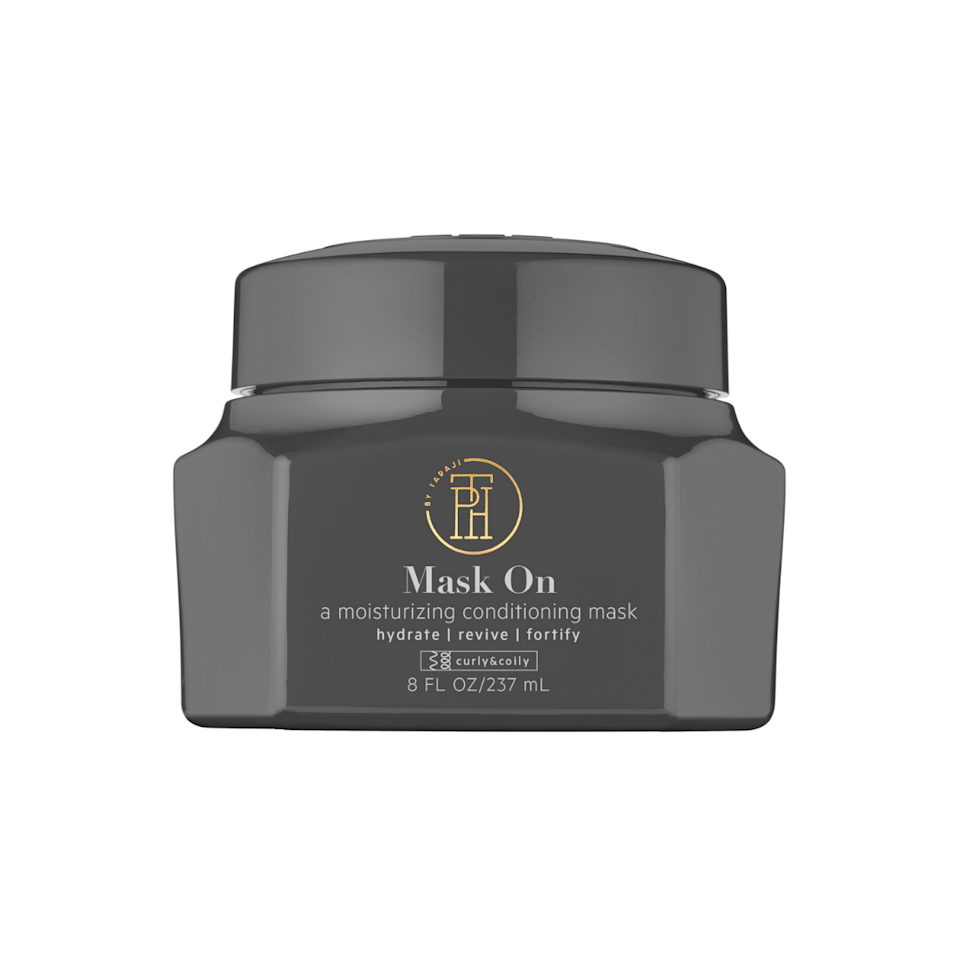 The gel-meets-oil texture of TPH by Taraji's Mask On conditioning mask melts right into hair to instantly make it feel soft and smooth. This is due to the inclusion of hydrating coconut oil and mango seed butter, which is rich in essential fatty acids to moisturize both hair and scalp.
