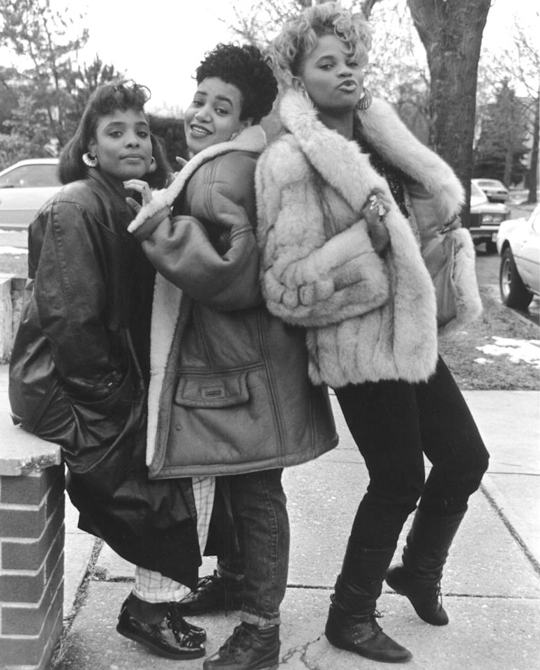 <p>Salt-N-Pepa record on February 6, 1988 in Bayside Queens, New York.</p>
